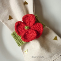Poppy napkin rings (6) - Wedding table decor - Party favours - Christmas poppies