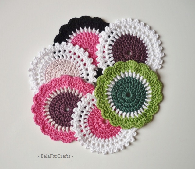 Crochet coasters (6) - Cotton doilies - Housewarming gift - Stocking filler