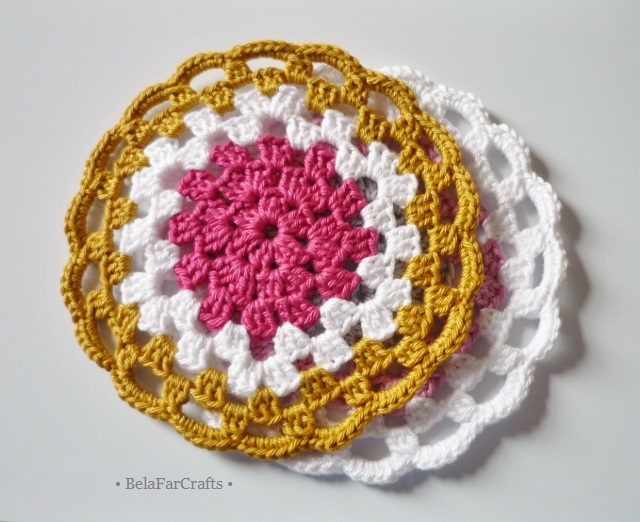 Granny circle mandalas (2) - Cotton crochet coasters - Home decor