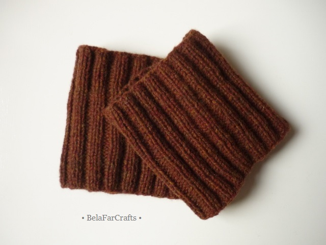 Men's brown boot cuffs - Scottish wool boot toppers - Handmade in UK