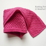 KNITTING PATTERN - Cotton Eyelet Scarf - Cotton scarf tutorial