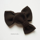 Chocolate brown bow set - Gift for father & son - Knitted bows for kids