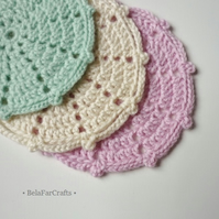 Pastel colours doilies (3) - Nursery decor - Baby shower gift - Crochet coasters