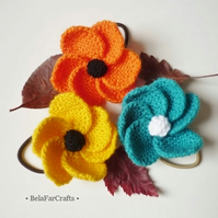 Flower hair bands - Knitted hair accessories - Stocking filler