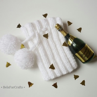 Sparkling white bottle cosy - Wine bottle cover - Party table decor