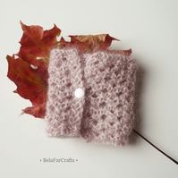 Lacy mohair bracelet - Dusky pink textile cuff - Hand knitted jewellery