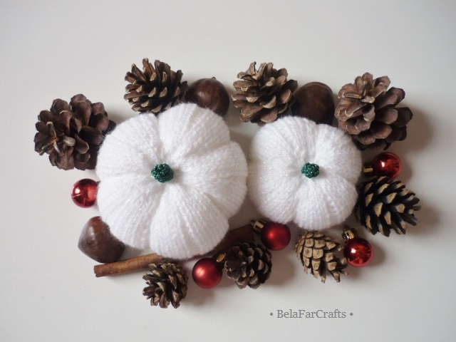 Sparkling pumpkins (2) - Winter wedding decor - White Xmas squashes