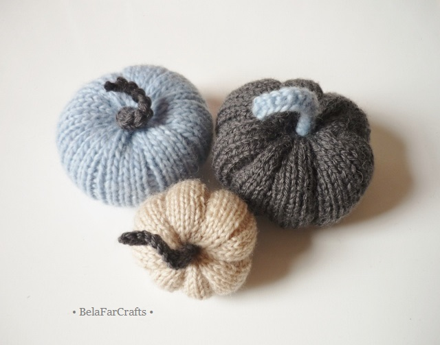 Decorative pumpkins (3) - Blue and grey fall theme - Wreath squashes