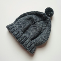 Baby boy knitted hat - Wool & silk beannie - Kids' shouchy hat