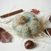 Knitted fuzzy pumpkin - Pin cushion - Gold Christmas theme