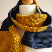 Guys' blue, yellow scarf - Cotton gift for him - Eco friendly present