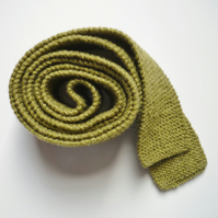 Scottish wool green tie - 7th wedding anniversary gift - Handmade in Scotland