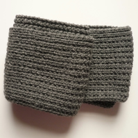Charcoal grey men's scarf - Guys' knitted neck scarf