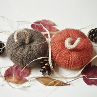 Wool pumpkins (2) - Autumn harvest decor - Knitted squashes