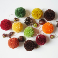 Autumn colours garland - Pom poms bunting - Fall decor