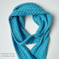 KNITTING PATTERN - Mini Waves Scarf - Lace knitting