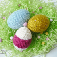 KNITTING PATTERN - Easter Eggs - Home Ornaments