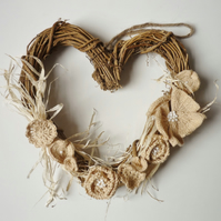 Rattan Heart Wreath - Linen Wedding Anniversary Gift - Country Style Decor