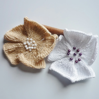 Knitted linen brooch - Cotton flower corsage - Wedding anniversary gift