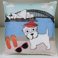 Westie Mini Cushion, Australia Sydney Harbor, Scotty Dog, West highland Terrier