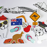 Westie Sticker Set, Australia & Scottish Themed, Sydney