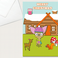 Chihuahua Christmas Card, Woodland, Deer, Squirrel, Snow, Wood Cabin