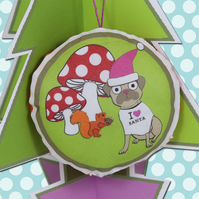 Pug Christmas Decoration, Toadstools, Squirrel, woodland