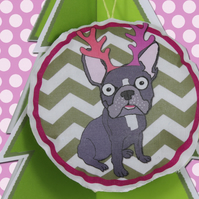 French Bulldog Christmas Tree Decoration, Antlers, Chevron