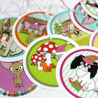 Dog Christmas Gift Tag Set, Chihuahua, Boston Terrier, Pug, French Bulldog