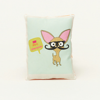 Chihuahua Mini Cushion with Mustache Vintage Style