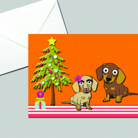 Dachshund Christmas Card With Candy Canes & Tree