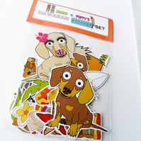 Dachshund Sticker Set Hawaiian Themed