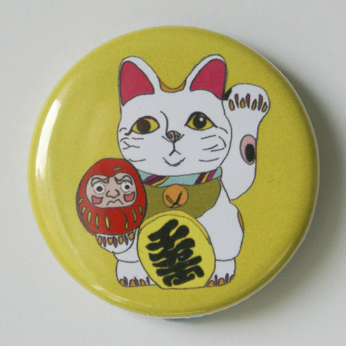 Lucky Fortune Cat 1.5 inch Pin Badge