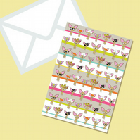 Chihuahua Greeting Card Repeat Pattern With Envelope