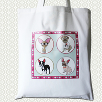 Dog Tote Bag, Boston Terrier, Chihuahua & Pug