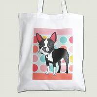 boston Terrier Tote Bag with Circles