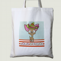 Chihuahua Tote Bag, White with Sombrero