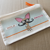 Chihuahua Pencil Case with Mustache