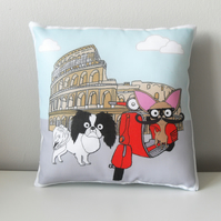 Japanese Chin Mini Cushion, Vespa in Rome Italy