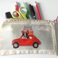 Boston Terrier Pencil Case, Car & Suitcases
