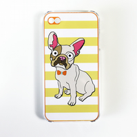 French Bulldog iphone 4 Case,Cover, Interchangeable Insert, Yellow Stripe