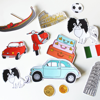 Japanese Chin Sticker Set, Italy Themed, Pisa