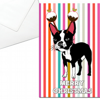 Boston Terrier Christmas Card, Pudding Headband
