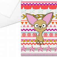 Chihuahua Christmas Card, Angel Halo, Aztec Pattern