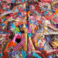 vibrant bright quirky blanket crazy patchwork kitsch , warm , pretty cute