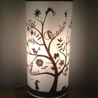 Family Tree Table Lamp - on opaque glass with touch silver base