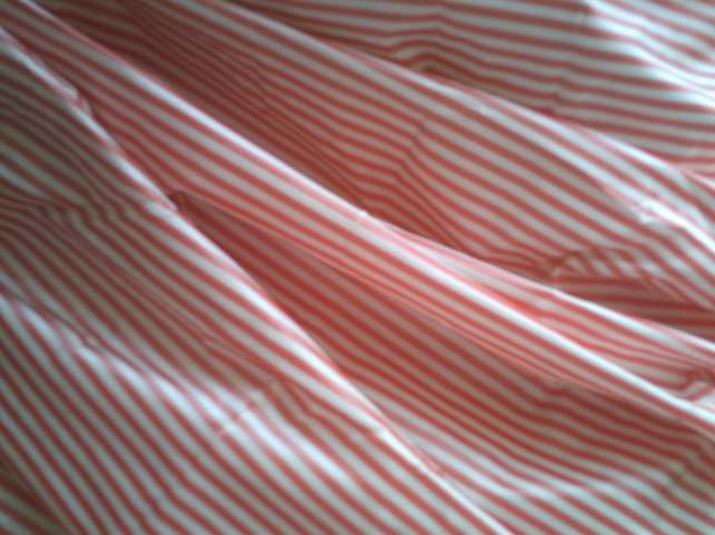 Stunning Cherry Red and White Striped Silk Taffeta, Sold by the Metre