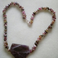 Rhodonite and amethyst Necklace multi coloured