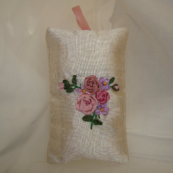 Silk ribbon embroidered scented sachet