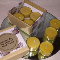 Bee wax Tea Lights  x 16